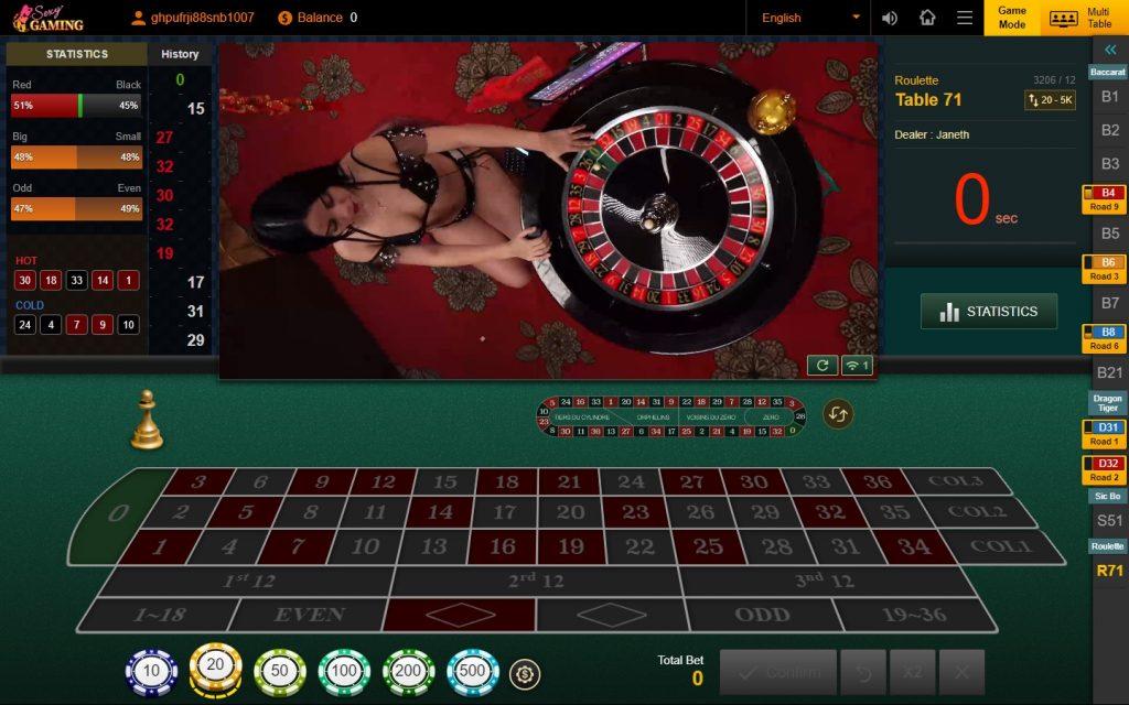 รูเล็ต Roulette รูเล็ตออนไลน์ Sexy Gaming