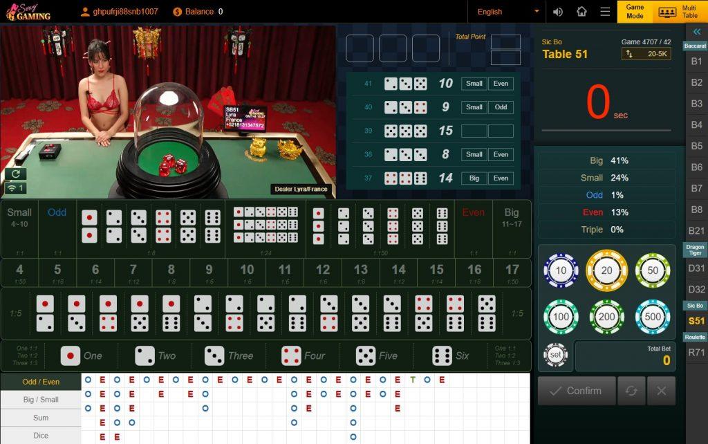 Sexy Gaming ไฮโล Sicbo สมัครเล่นไฮโลออนไลน์ ฟรีเครดิต